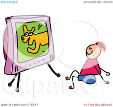 boy watching tv clipart. royalty-free (rf) clipart illustration of a childs sketch boy watching dog show on tv by prawny