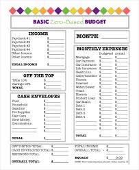Zero Budget Template Basic Zero Based Budget Worksheet Template