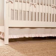 light pink linen 2 piece crib bedding set