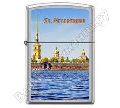 <b>Зажигалка Zippo</b> Петропавловская крепость с покрытием Satin ...