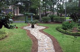 diy concrete paving stone and white gravel pathway