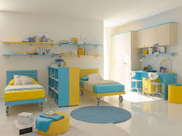 Modern Child Bedroom Furniture Bedroom Beautiful Blue Yellow Wood Glass Luxury Design Bedroom