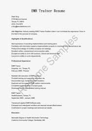 Resume Samples Emr Trainer Resume Sample