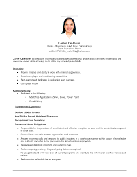 Cover Letter Resume Objective Part Time Job Resume Objective For
