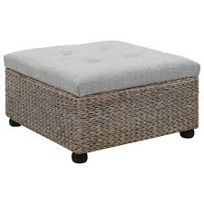 vidaXL <b>Ottoman Seagrass 65x65x40 cm</b> Grey - Home garden and ...