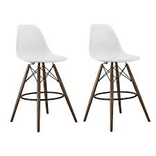 26 inch counter stools. Set Of 2 26 Inch White DSW Counter Stool With Dark Walnut Wood Eiffel Legs Stools ,