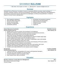 Examples Of Human Resources Resumes Manager Entry Level Hr