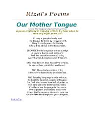 our mother tongue poetry