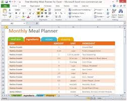 Meal Prep Chart Free Monthly Meal Planner For Excel