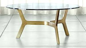 round glass coffee table with metal base brass top m