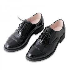 black women s oxfords patent leather lace up flats school shoes image