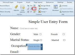 How To Add A Drop Down Box In Word Create User Entry Forms In Word 2010