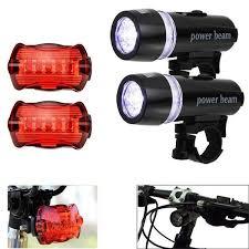 Waterproof <b>5 LED</b> Lamp <b>Bike Bicycle Front</b> Head Light + Rear Safety ...