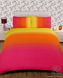 image of striped pink yellow printed duvet cover bedding uk orange bedding sets and covers