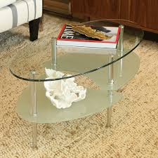 Amazon Oval Glass Top End Table Walker Edison Coffee Kitchen Dining