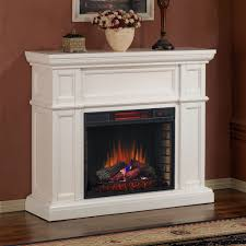 white electric fireplace with mantel