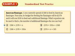 1 standardized test practice example 1