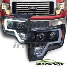 led bar 2009 2016 ford f 150 pickup truck black projector headlights pair