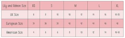 Vs Pink Size Chart Size Guide Lily Ribbon Fashionable Maternity And