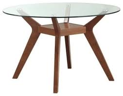 coaster paxton round glass top dining table nutmeg