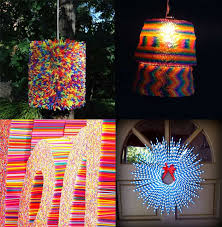 a chandelier made of dozens of plastic straws