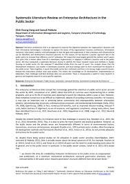 Systematic Literature Review On Enterprise Architecture In The