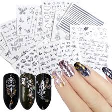 Happy Design Nails Hours Us 1 24 41 Off 16 Designs Nail Stickers Decals Water Transfer Nail Wraps Silver Flowers Jewelry Tattoos Sliders Manicure Decorations Trstz Ys16 In