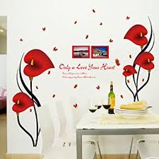 amaonm fashion 3d vinyl red flower wall stickers decor nursery morning glory flowers wall art decals on flower wall art for nursery with amazon amaonm fashion 3d vinyl red flower wall stickers decor
