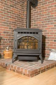 wood burning stove in a two story house