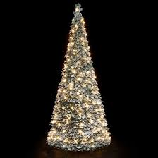 6ft Pre Lit Snow Flocked Pop Up Christmas Tree (200 Warm White Lights)