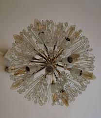 large sputnik chandelier in glass crystal and brass by emil stejnar for
