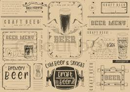 Beer Drawn Menu Design. Craft Beer Placemat For Restaurant, Bar, Pub ...