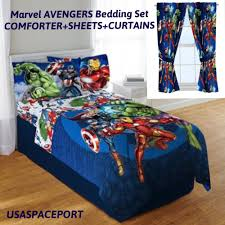 kids marvel avengers twin single comforter sheets curtains set bed in a bag room