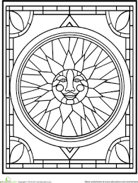 Stained Glass Cross Coloring Page Suitable Combine Beauty And The
