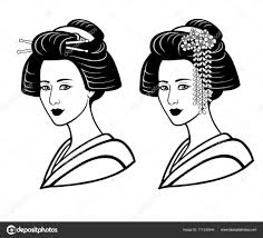 若い日本人の女の子古代髪型の 2 つの肖像画芸者舞妓姫印刷