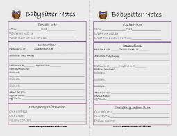 6 best images of printable babysitter checklist printable printable babysitter notes