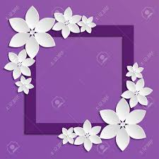 Flower Border Designs For Paper Decorative Violet Paper Cut Border With White Paper Flowers