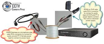 audio surveillance microphone installation wiring guide how to wire microphone rg59 siamese cable and individual power transformer