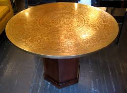 impressed moroccan brass top dining table in the style of phillip and kelvin laverne sold white trash nyc
