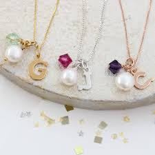 letter charm necklace with swarovski crystal