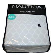 Nautica 100% Cotton 300 Thread Count Queen Sheet Set, Color Grey/White