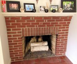 red brick veneer fireplace