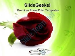 Wedding Powerpoint Template Cool Red Rose With Rings Wedding PowerPoint Templates And PowerPoint