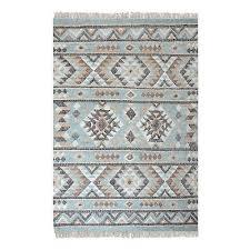 aqua turquoise blue tribal ikat area rug 5 x 8 kilim global ethnic