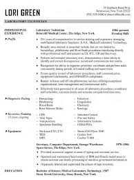 Medical Lab Technician Resume Format Laboratory Technician Resume