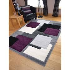 tempo square black purple rug 3 sizes