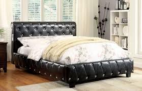 tufted upholstered bed. Black Leatherette Upholstered Bed Frame - CA7056F Tufted E