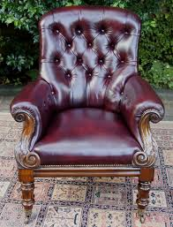 antique rosewood and leather library chair or armchair date circa 1835