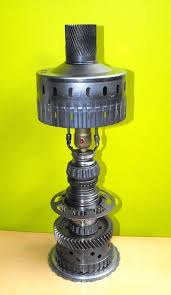 desk lamp made from recycled car parts