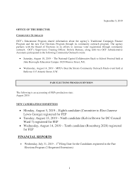 Monday, August 5, 2019 – Eighth candidate (Committee to Elect Janeese Lewis  George) registered for FEP • Tuesday, Augus
